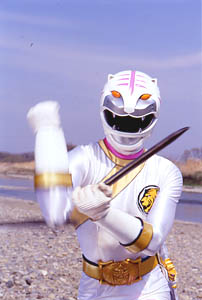 White Ranger posing with a Crystal Saber