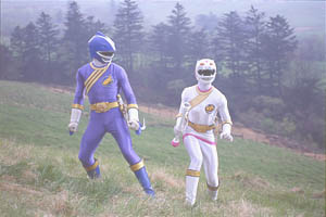 Blue Ranger takes a walk with the White Ranger