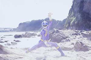 Blue Ranger poses