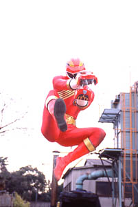 Red Ranger leaps into action with his Lion Fang
