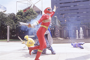 Red Ranger being slashed by Rasetsu