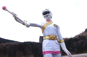 White Ranger attacking with her Tiger Baton