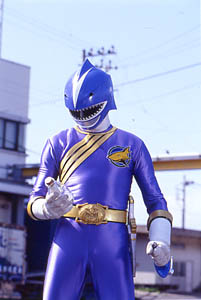 Blue Ranger recieves the power of the Giraffe